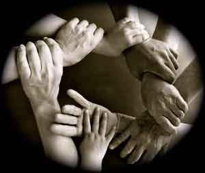 Integrative therapy hands together